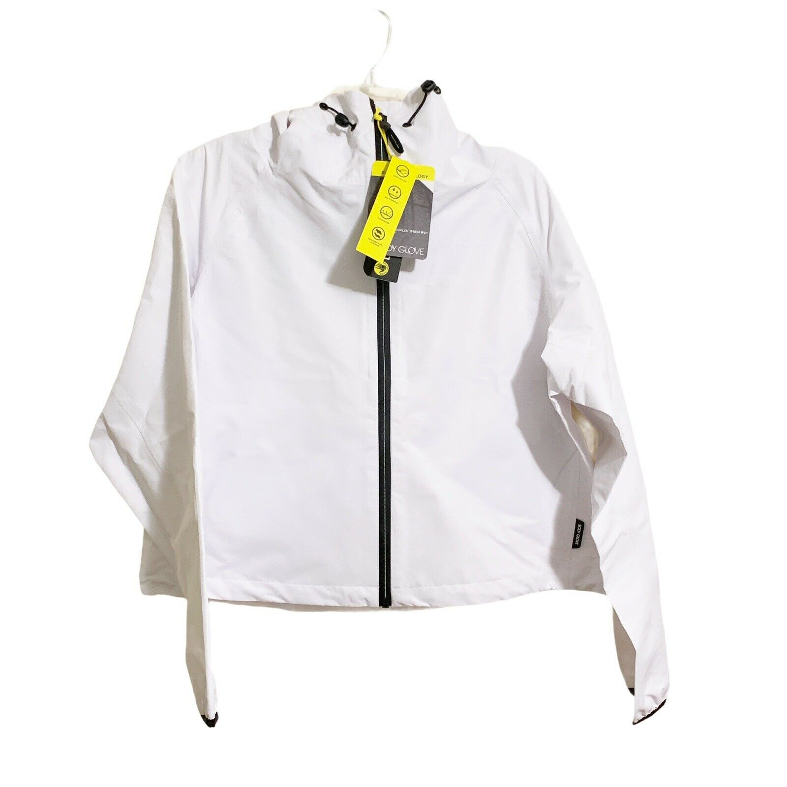 Body Glove Cropped Rain Jacket Front Zip White Size Large Waterproof