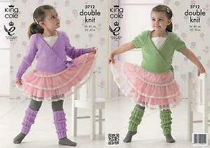 King Cole 3712 Knitting Pattern Ballet Cardigan And Leg Warmers In