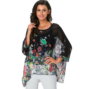 5a1aead5bb Image is loading Womens-Floral-Batwing-Sleeve-Beach-Loose-Blouse-Tunic-