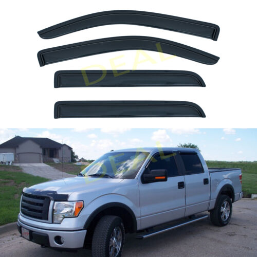 4pcs Smoke Sun Rain Guard Vent Window Visors Fit 09-14 Ford F150 Super Crew Cab