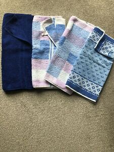 VINTAGE-RETRO-4-HAND-TOWELS-BLUE-BLUE-MIX-ALL-IN-GOOD-CONDITION-ZORBIT-TAYCREST