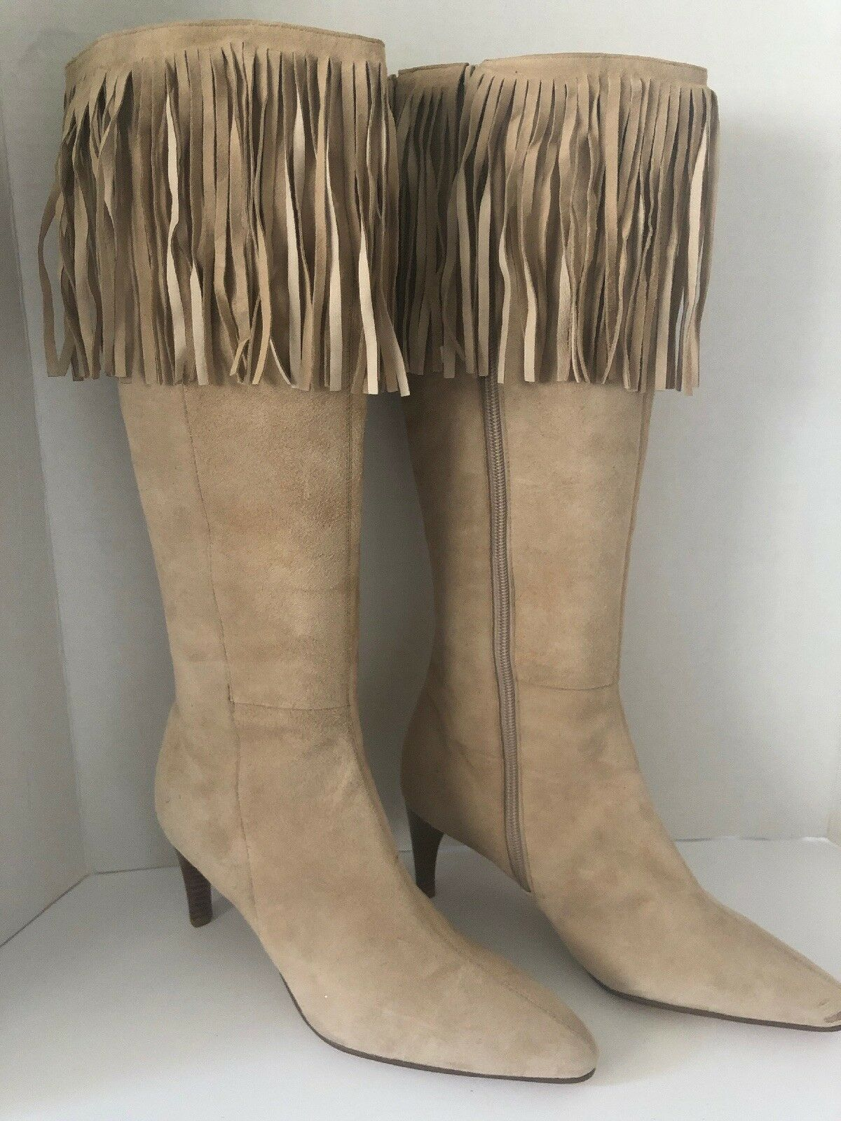 Amanda Smith Christie Tan Suede Fringe Knee Boots Heels shoes Size 8.5