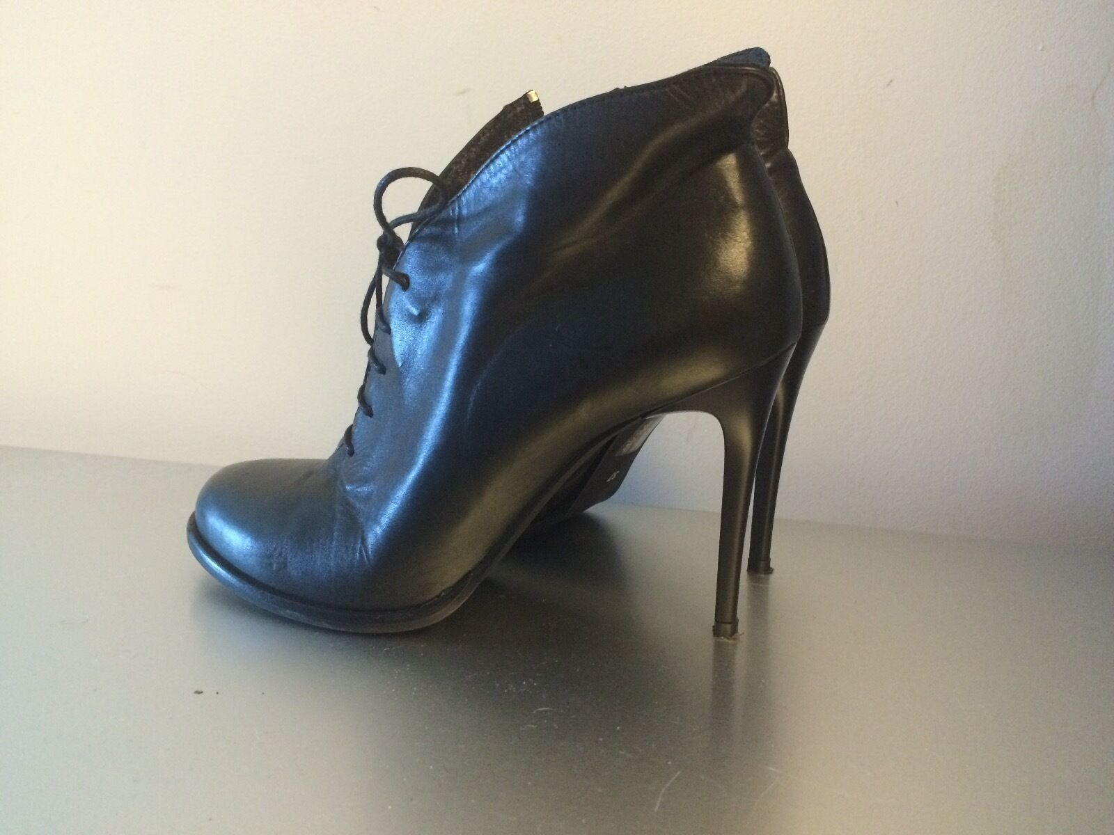 Black Real Leather Women's BAGATT Ankle Boots Size 37 Made in Italy