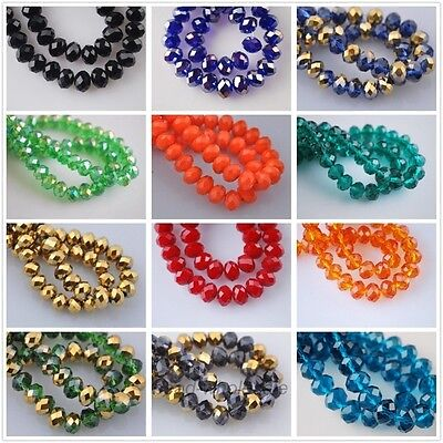 70pcs Wholesale Rondelle Faceted Crystal Glass Loose Beads Spacer 34 Color 8*6mm