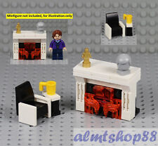 Queen King Bed w// Nightstands Minifig Bedroom Home Furniture Town LEGO