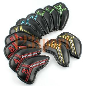 Craftsman-12x-Black-Golf-Iron-covers-Headcovers-For-Taylormade-Adams-Ping-Mizuno
