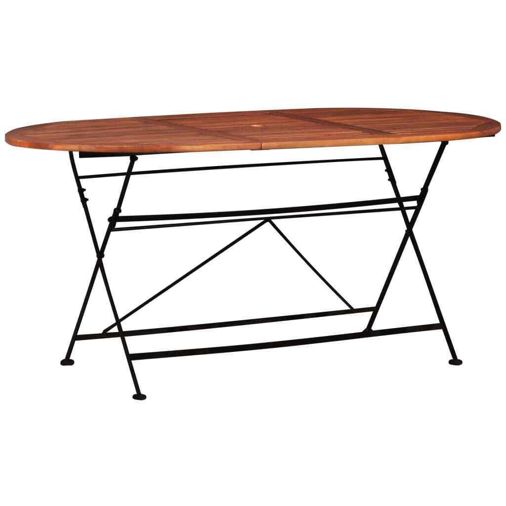 VidaXL Solid Acacia Wood Garden Table Oval Bistro Patio Outdoor Furniture Desk