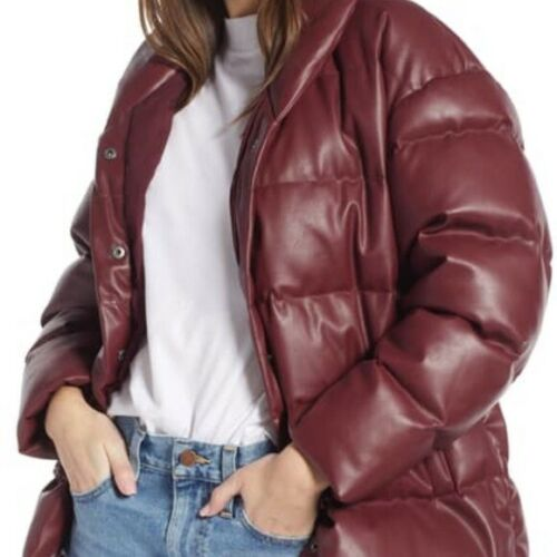 Something Navy Faux Leather down blend puffer coat