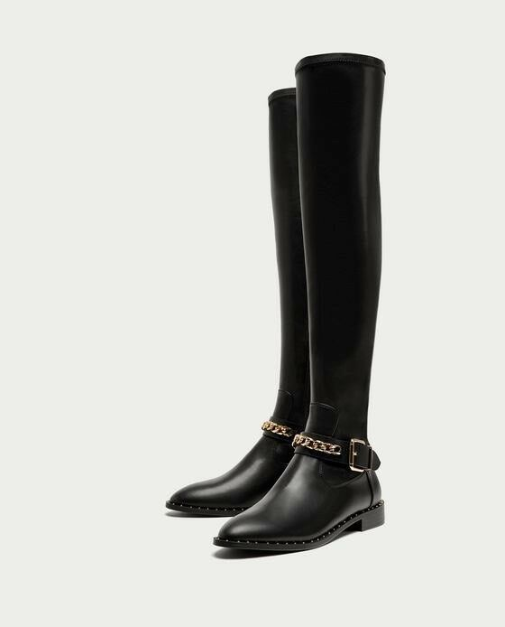 Zara AW17 Flat Over Over Over The Knee stivali With Chain Dimensione 9 EU 40 NWT 9526d0