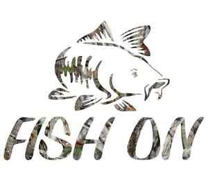 "8/"" Camouflage fish on salmon skillet fishing sticker camo print decal"