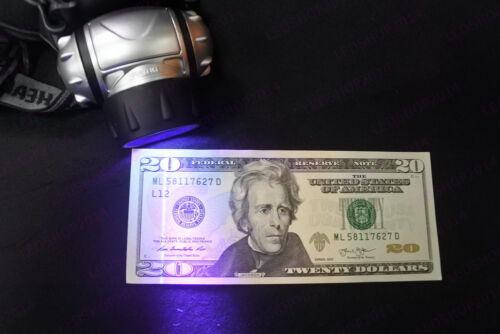 19 LED Blacklight UV Headlamp Night Camping Fishing Fluorescent UV Head Lights