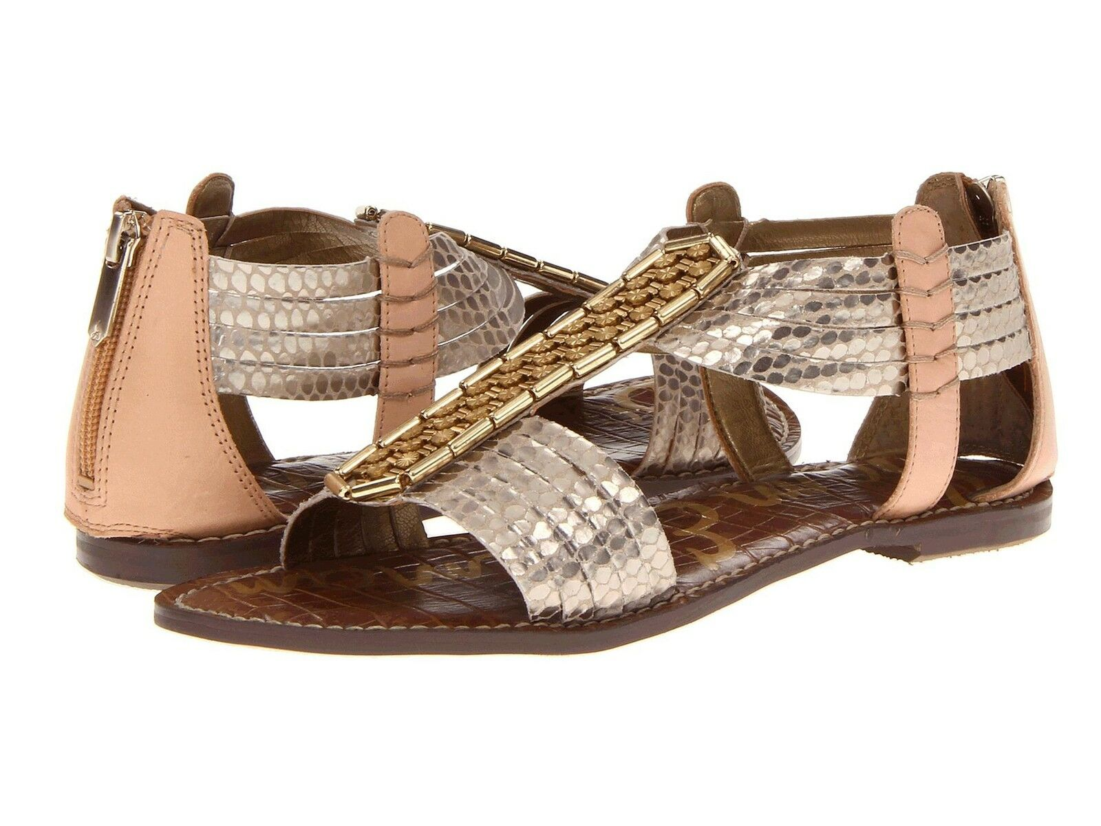 SAM EDELMAN donna SANDALS GLADIATIOR LEATHER LEATHER LEATHER GATSBY STUDED oro NATURAL NEW 4a567c