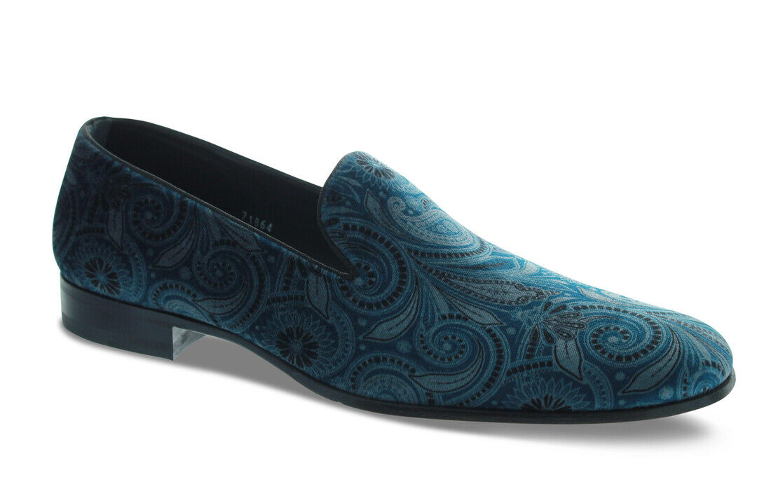 Mezlan bluee Paisley Velvet Slip-On Loafer