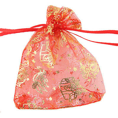 50pcs Best Sale Christmas Style Red Drawstring Organza Pouch Gift Bags 7x9 cm C