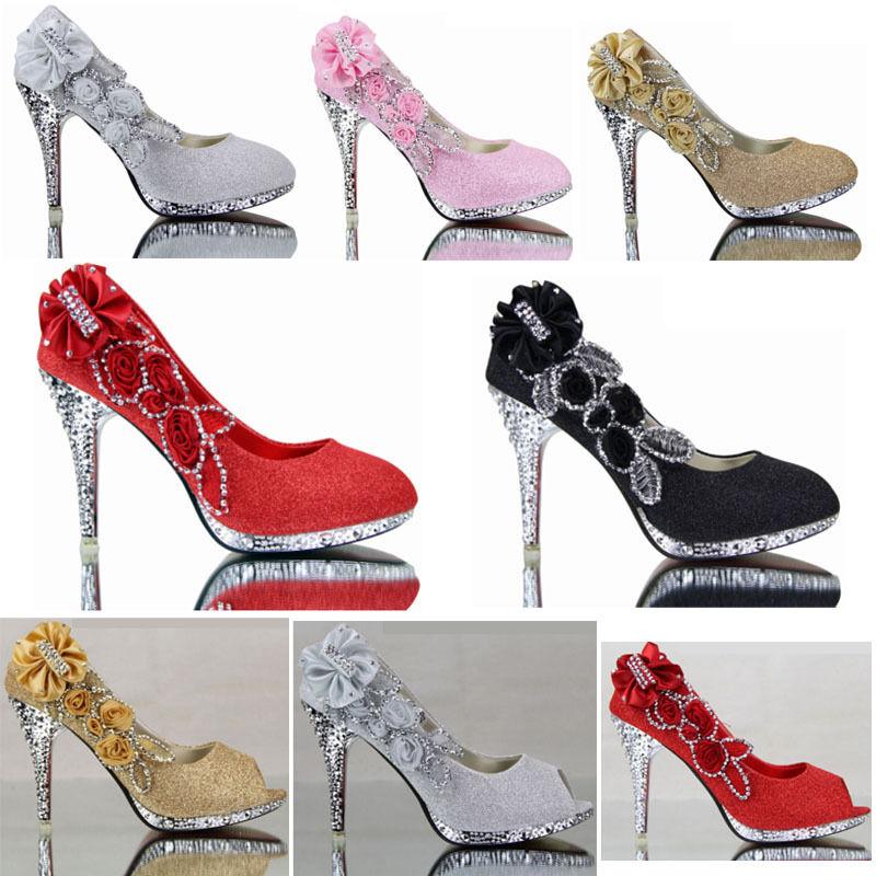 Womens High Bling Heel Wedding Bridal Pump Open Toe shoes Pumps Floral Size 9