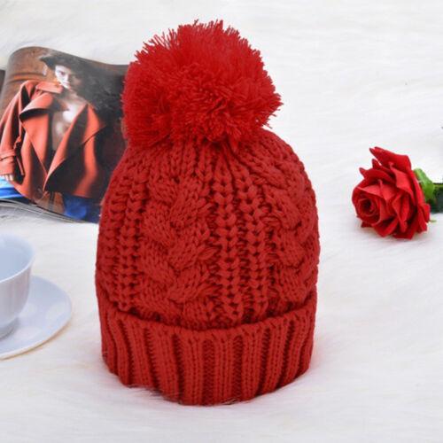 Fashion Femmes Tricot Laine écharpe et bonnet pompon Cap Set Chaud Hiver écharpe