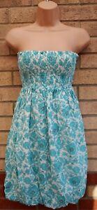 Almacen-Verde-Turquesa-Folk-Floral-Vestido-de-palabra-de-honor-Burbuja-Puffball-Blanco-S-8-10
