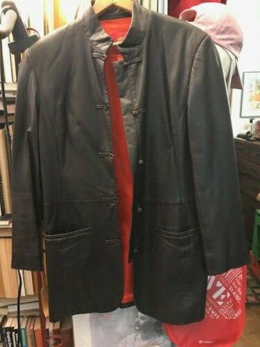Shanghai Tang Brown Jacket Leather Mandarin Collar