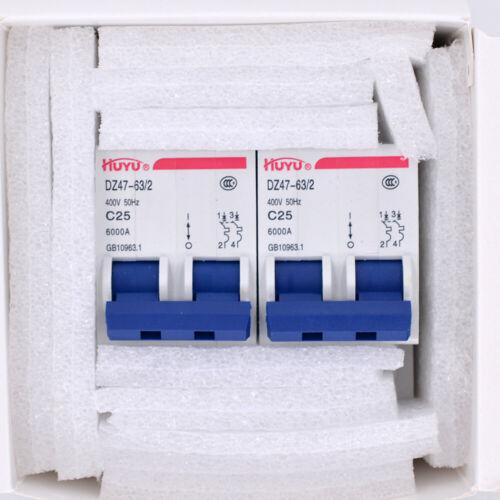 2PCS DZ47-63//2P DIN Rail Mount Circuit Breaker Miniature Circuit Breaker 2P 25A