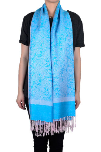 Two Color Pashmina Paisley Floral Silk Wool Scarf Wrap Shawl Soft Classic
