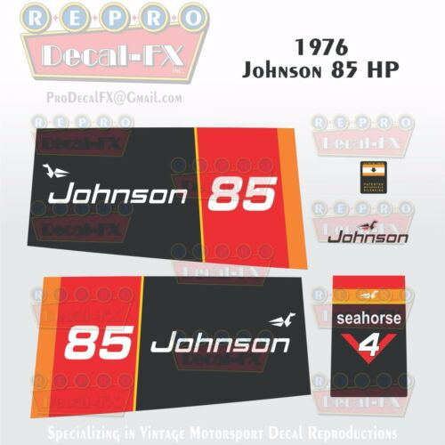 1976 Johnson 85 HP V4 Seahorse Outboard Reproduction 6 Pc Marine Vinyl Decals