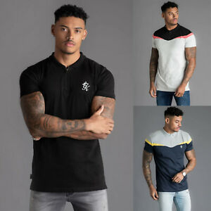 Gym-King-Mens-Short-Sleeve-Designer-Collared-Zip-Fastening-Polo-Shirt-T-shirt