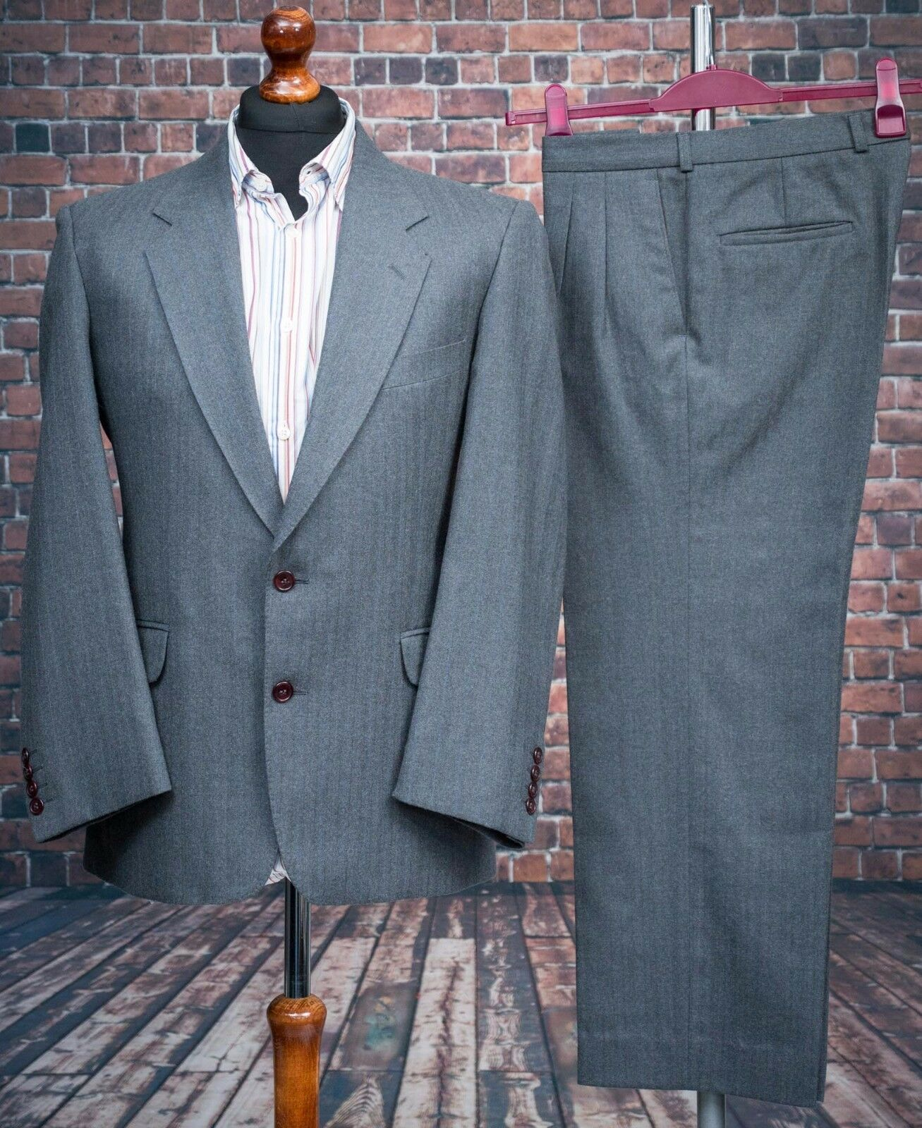 Centaur Vintage Grau Pinstripe Single Breasted Wool Trouser Suit 40S 32W 26L