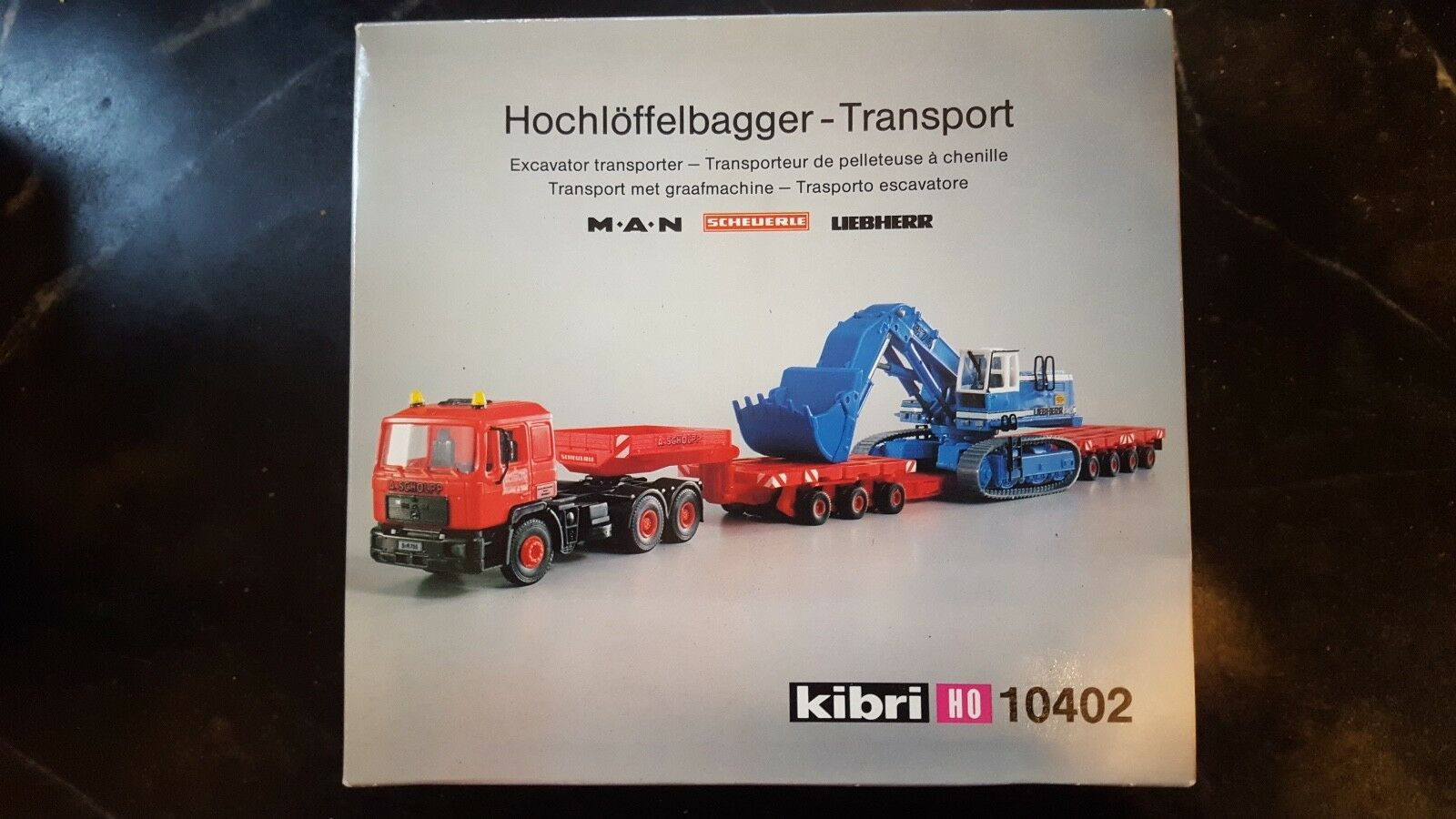 Kibri 10402 hochloffelbagger transporte hombre Scheuerle Liebherr