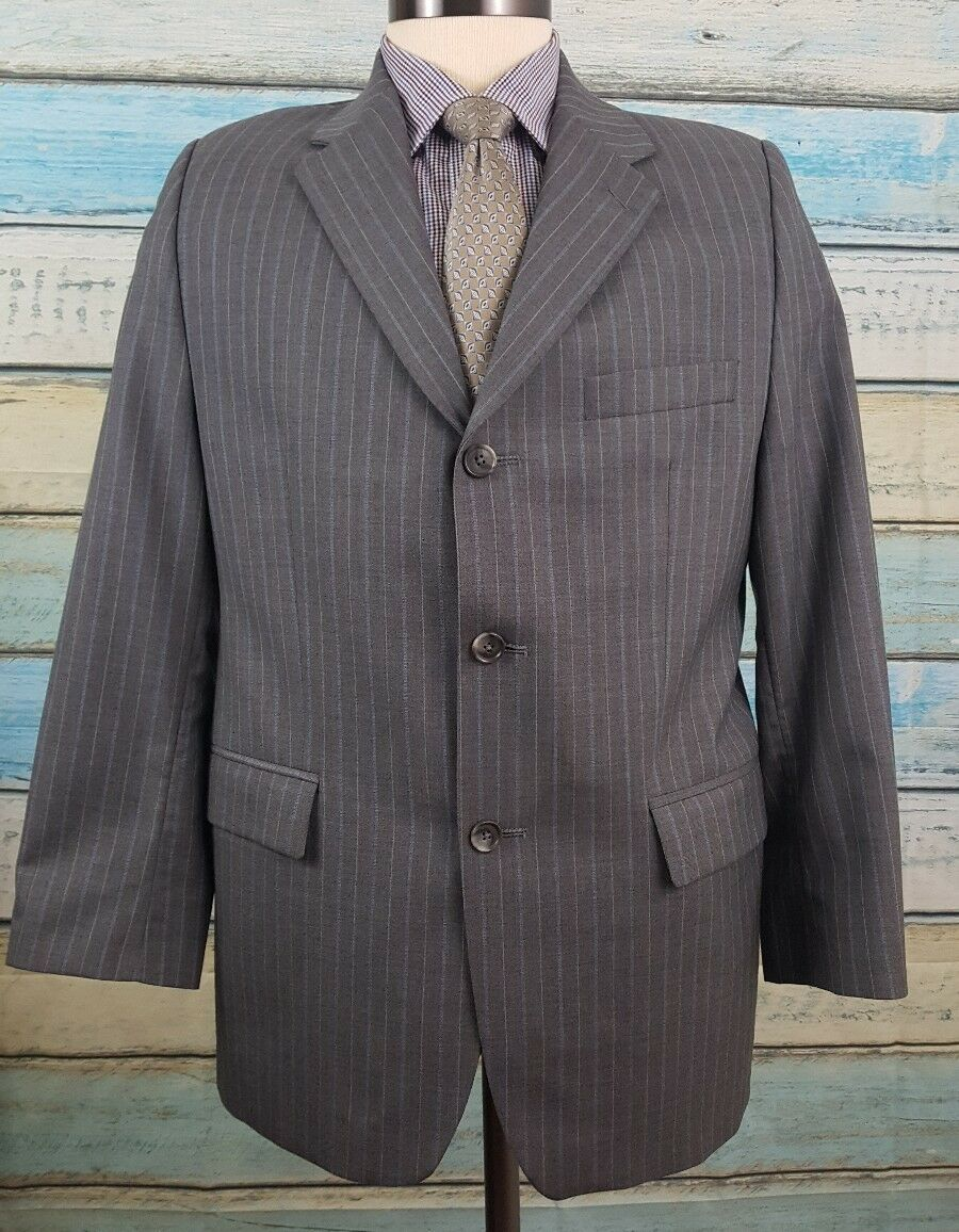 RALPH LAUREN 3 Button Size 40S Grey Pinstriped 2 Piece Wool Mens Suit