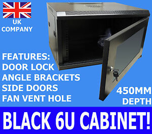 Image Is Loading 6U 450mm 19 034 Black AV Wall Cabinet