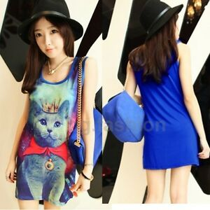 Women-Galaxy-Cat-Print-Sleeveless-Long-Tank-Top-Vest-Tee-Shirt-Blouse-Mini-Dress