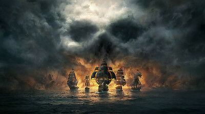 Video Game Skull And Bones Pirate Ship Silk poster wallpaper 24 X 13 inches