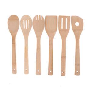 Herramientas de cocina de madera de bambú cucharas espátula utensilios de cocina