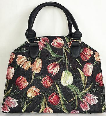 Tulip Flower Design on Black Tapestry Small Pouch Crossbody Bag  Signare