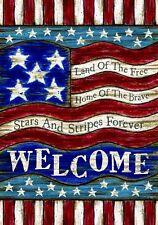 PATRIOTIC LAND OF THE FREE Americana 2 Side Custom Decor Garden Flag USA Printed