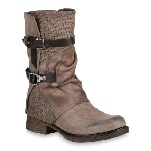 Damen Bikerstiefel Holzoptikabsatz Schuhe Stiefel 819205 Trendy Neu