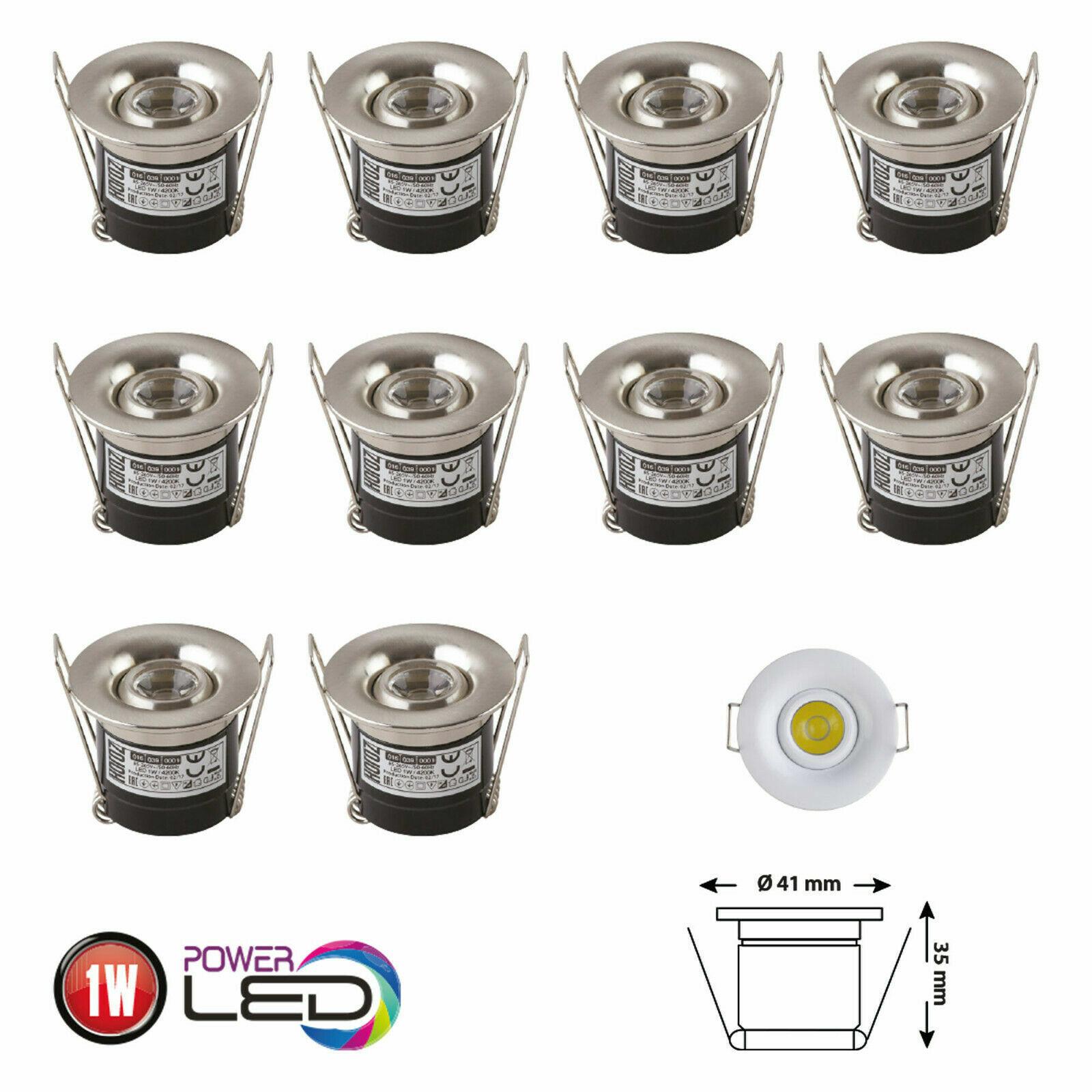 10er Sparset LED Minispot Einbauleuchte EInbaustrahler LED Treppenbeleuchtung 1W
