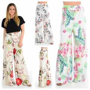 dd3c421a5a8b5 Image is loading WOMENS-LADIES-SUMMER-FLORAL-TROPICAL-LEAF-PRINT-PALAZZO-