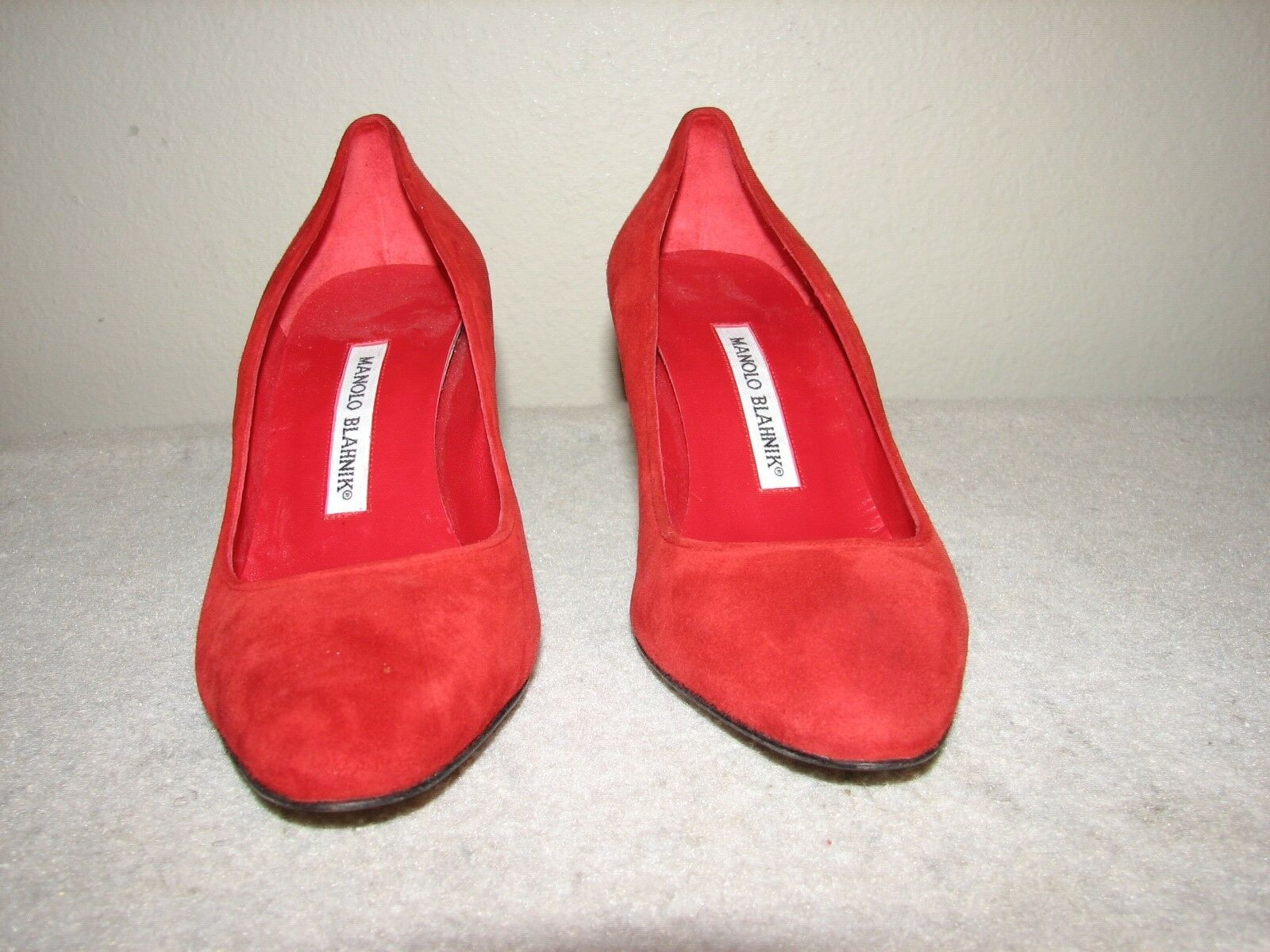 699 New Manolo Blahnik Red Suede Pumps Heels shoes 38 8 HAND MADE in