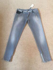 IRO-039-Swan-039-grey-skinny-jeans-leather-amp-zip-pocket-detail-UK-12-New-w-Tags-250