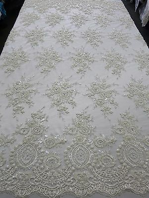 """Off-White Bridal Mesh w/ Embroidery Beaded Lace Fabric - 50"""" - Sold by the yard"""