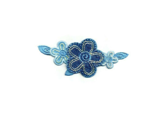 Flowers Denim Flower Over Light Blue Flower Iron On Applique Patch