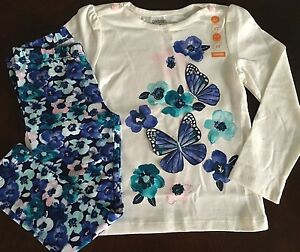 New Gymboree Girl Butterfly Garden Ivory Tee &Floral Leggings Outfit 2T 3T 4T