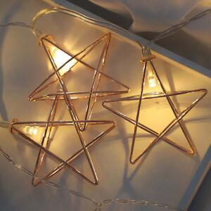 10 Led Guirlande Lampe Etoile Metal Eclairage Lumineuse Pr Noel