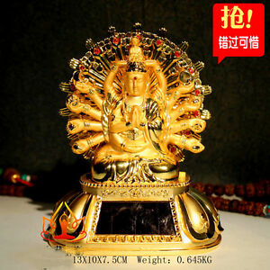 Tibet Buddhist Solar Energy Thousand-Hand Kwan-yin Rotate lamplight Car statue