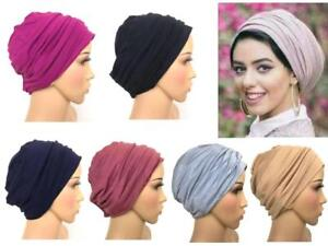 New-2-piece-Cotton-Turban-hats-underscarf-cap-hijab-stretchy-material-chemo