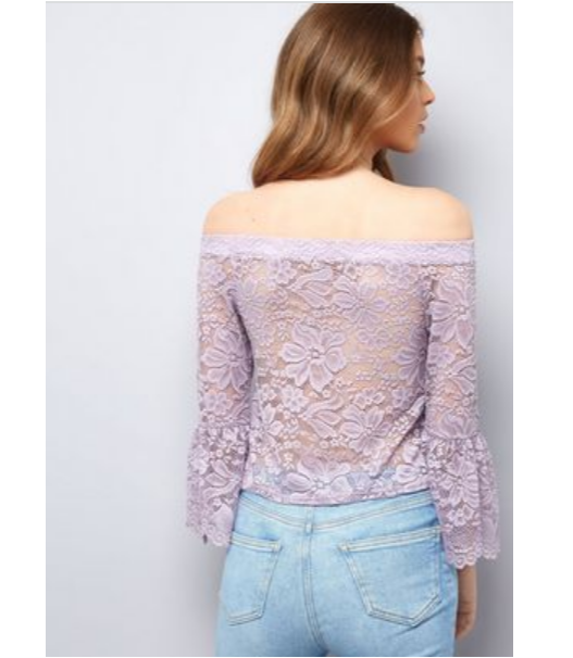 c6c4b001d30 LOOK Purple Lace Bell Sleeve Bardot Top Size UK 8 Dh172 NN 08 for sale  online | eBay