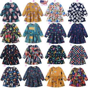 Toddler-Kids-Baby-Girls-Long-Sleeve-Cartoon-Floral-Princess-Dress-Outfit-Clothes