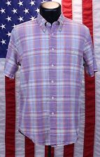 Pendleton Oceanside Short Sleeve Flannel Plaid Button Down Shirt Pink Med Casual
