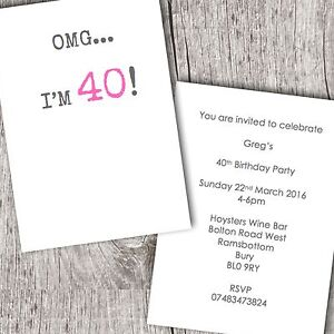 Image Is Loading Birthday Party Invitations 18th 21st 30th 40th 50th